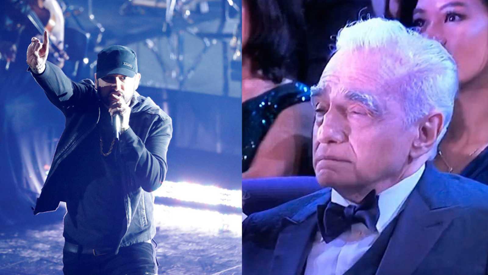Martin Scorsese aguantando el tipo durante la actuación de Eminem en los Oscars 2020