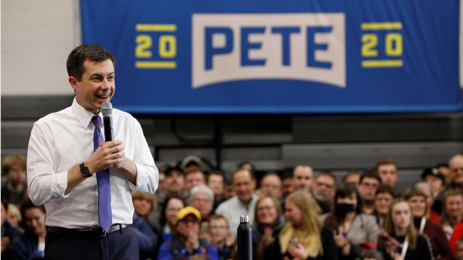 El candidato demócrata durante un acto en New Hampshire.