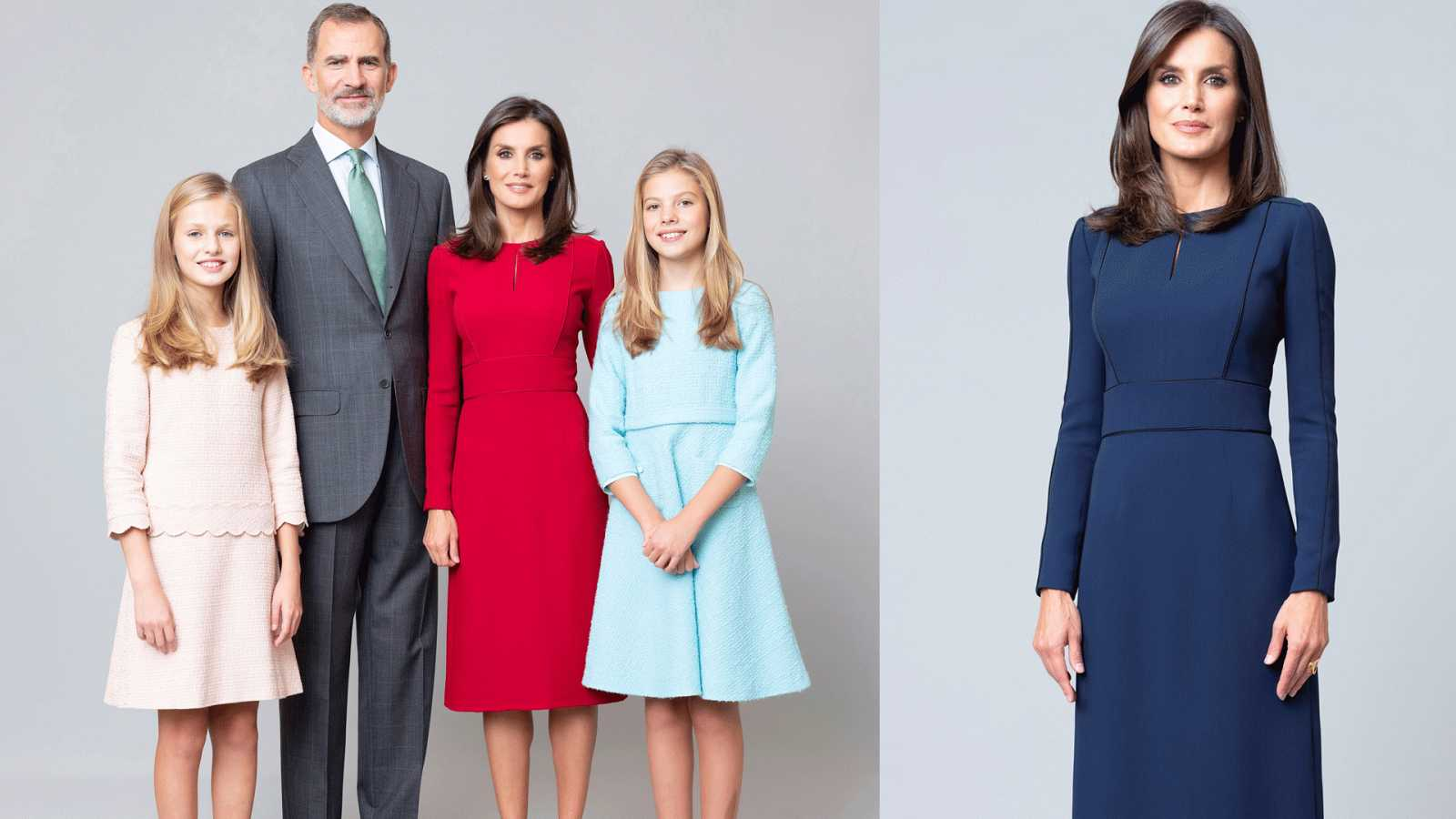 Posado oficial de la Familia Real: Los Reyes con sus hijas y Doña Letizia en solitario