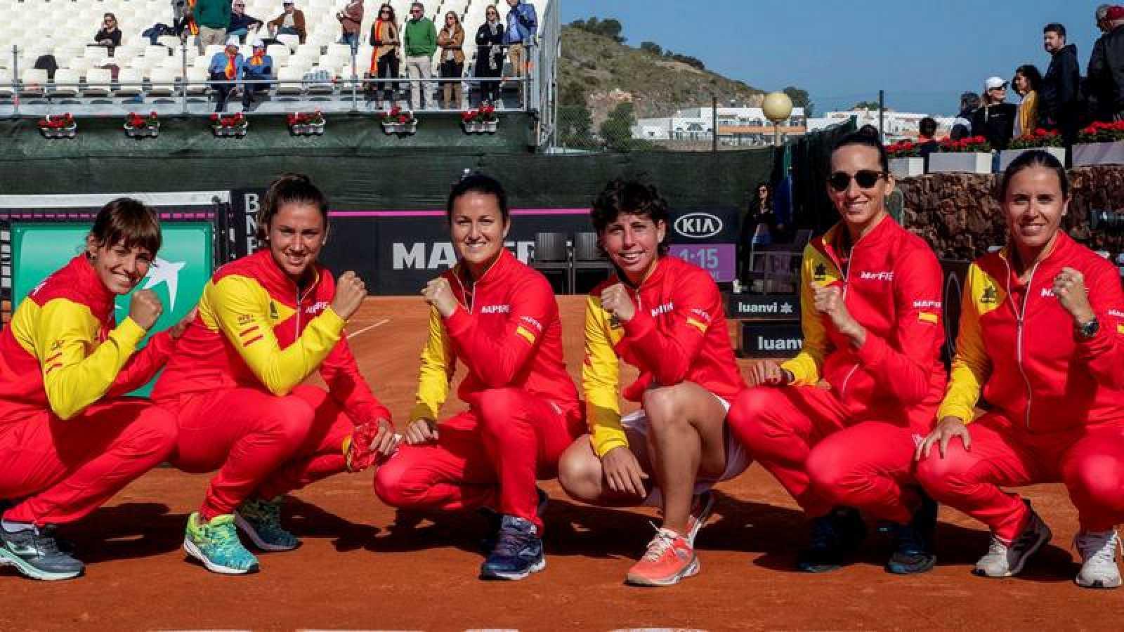 Equipo española de Copa Federación que venció a Japón en Murcia.