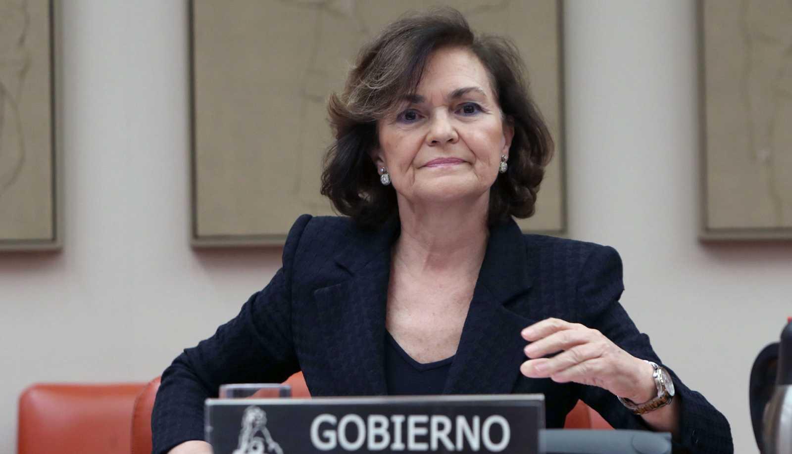 La vicepresidenta primera del Gobierno, Carmen Calvo, durante la primera comparecencia de un miembro del gabinete en las comisiones del Congreso