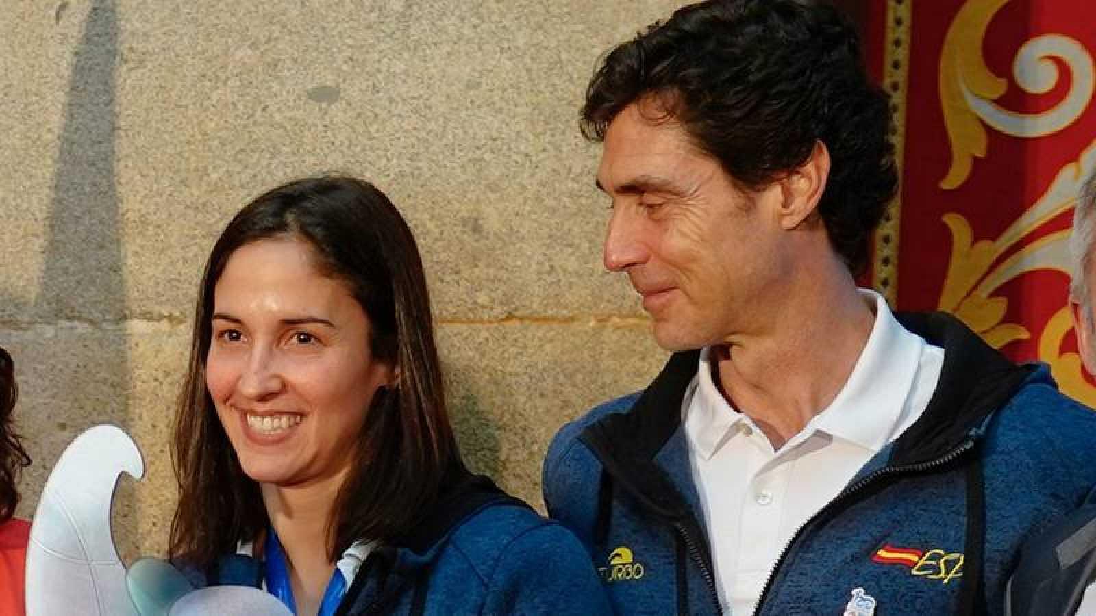 Pilar Peña y Miki Oca, durante un homenaje tras el Europeo de Budapest 2020