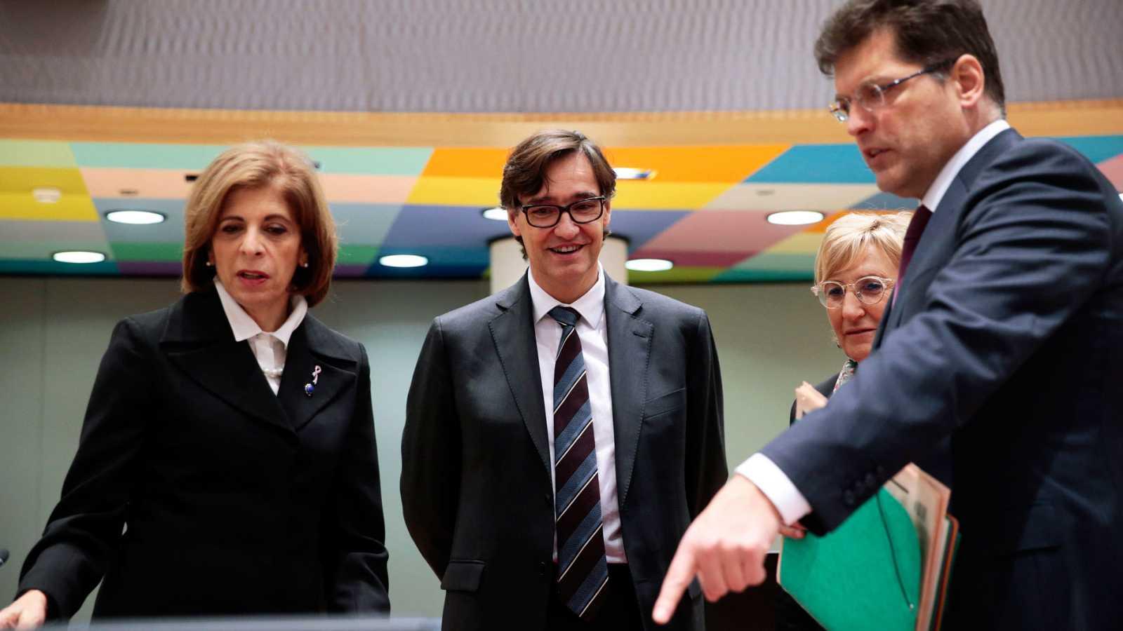 El ministro de Sanidad español, Salvador Illa, durante la reunión de ministros europeos de Sanidad por el coronavirus