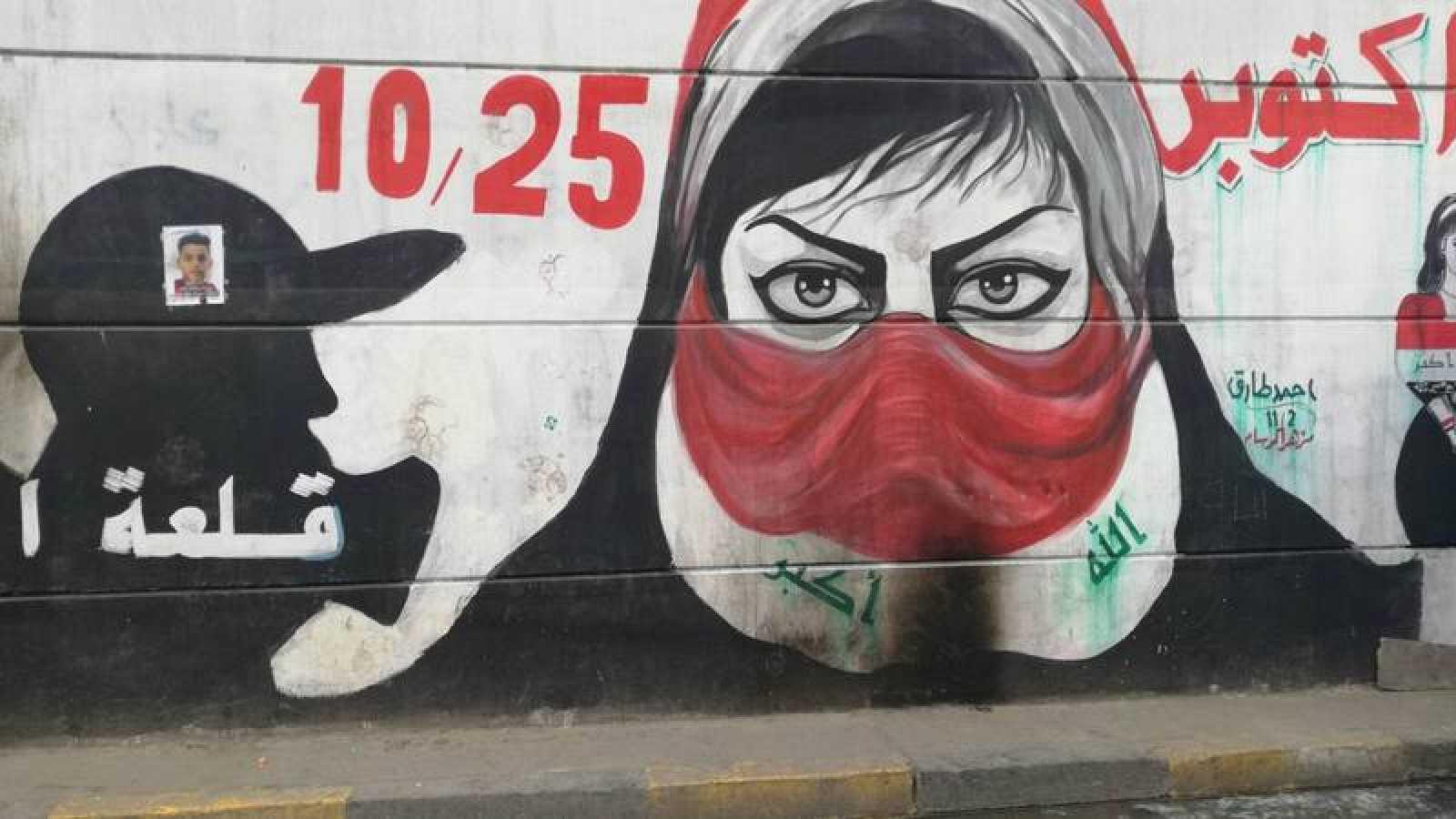 Graffiti en la plaza Tahrir, epicentro de las manifestaciones en Bagdad (Irak)