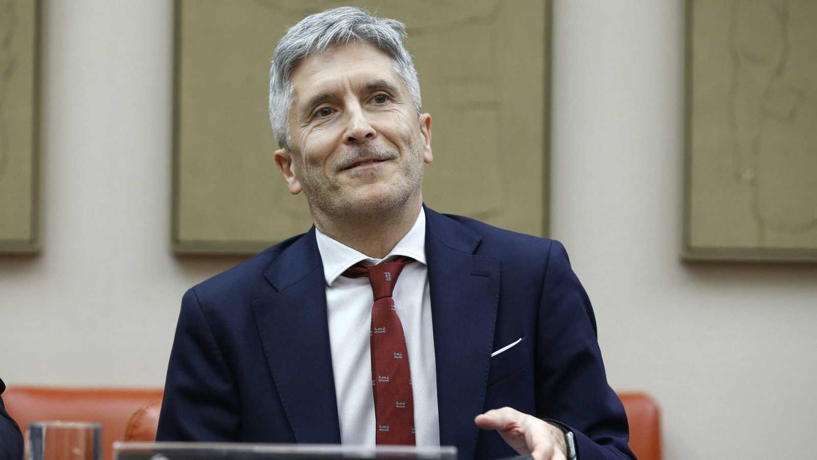 El ministro del Interior, Fernando Grande-Marlaska, al inicio de su primera comparecencia de la legislatura en las comisiones del Congreso.