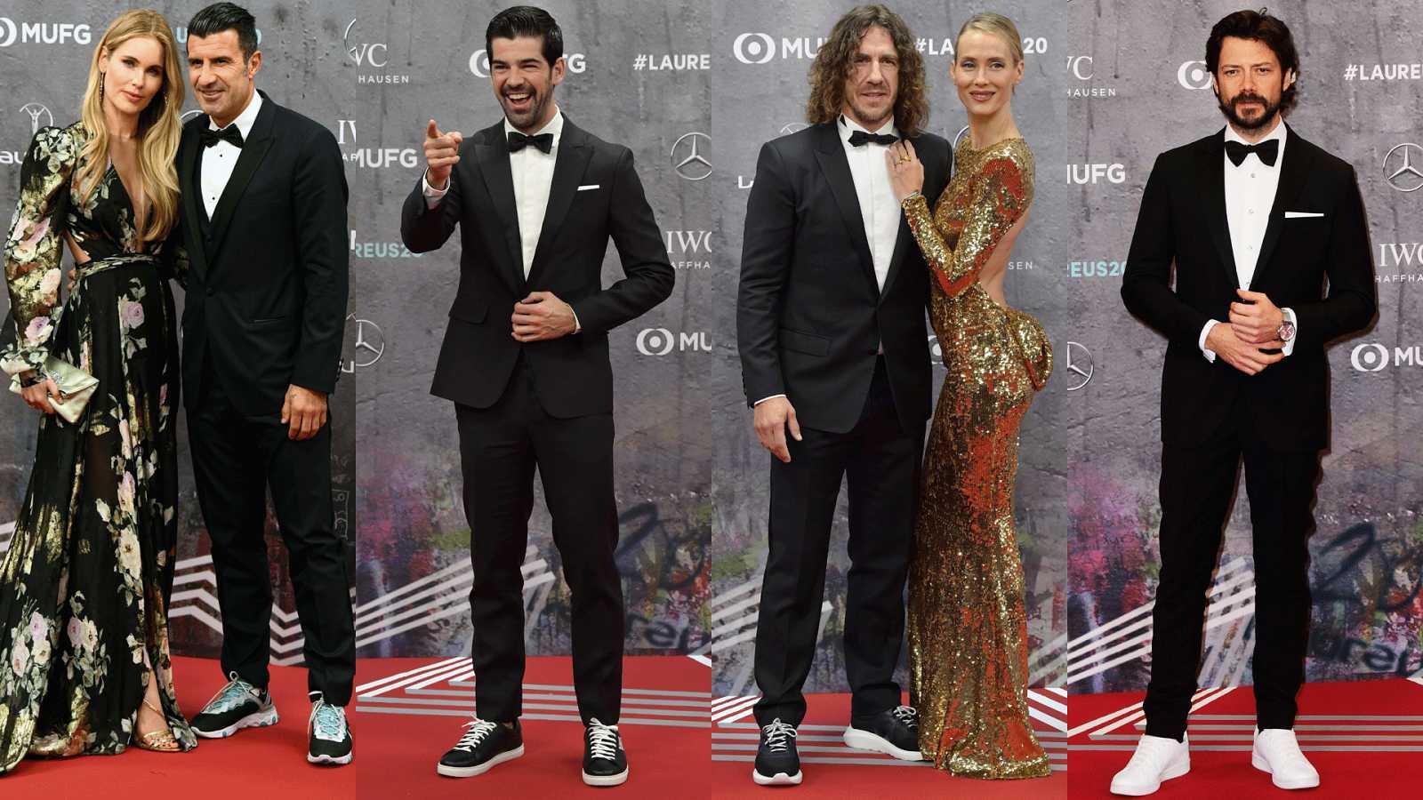 Representación española en los Premios Laureus:  Luis Figo y su esposa, Helen Sveden, Miguel Ángel Muñoz, Carles Puyol y su pareja, Vanesa Lorenzo y Álvaro Morte en la alfombra roja de los Premios Laureus