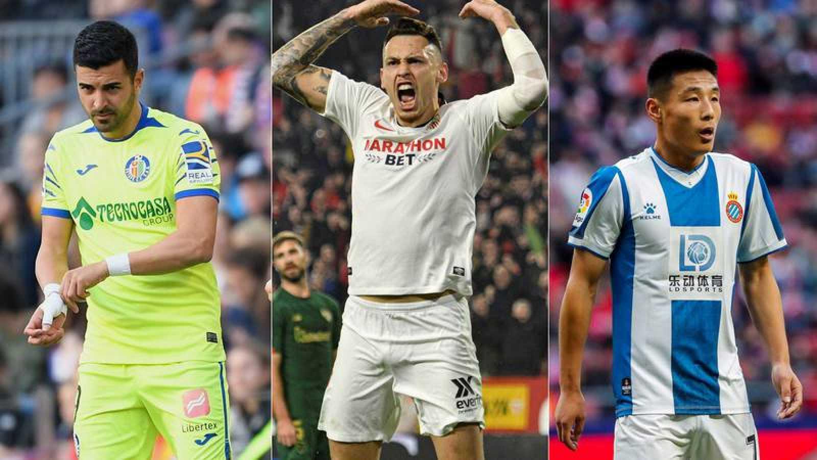 Montaje con las imágenes de los jugadores Ángel Rodríguez, Lucas Ocampos y Wu Lei.