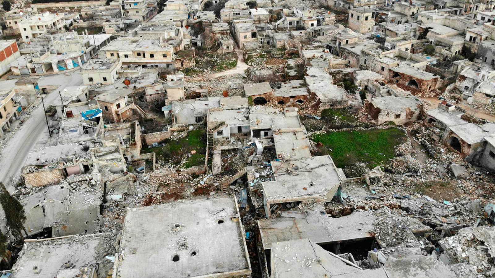 Imagen aérea de la ciudad siria de Ihsim, al sur de Idlib