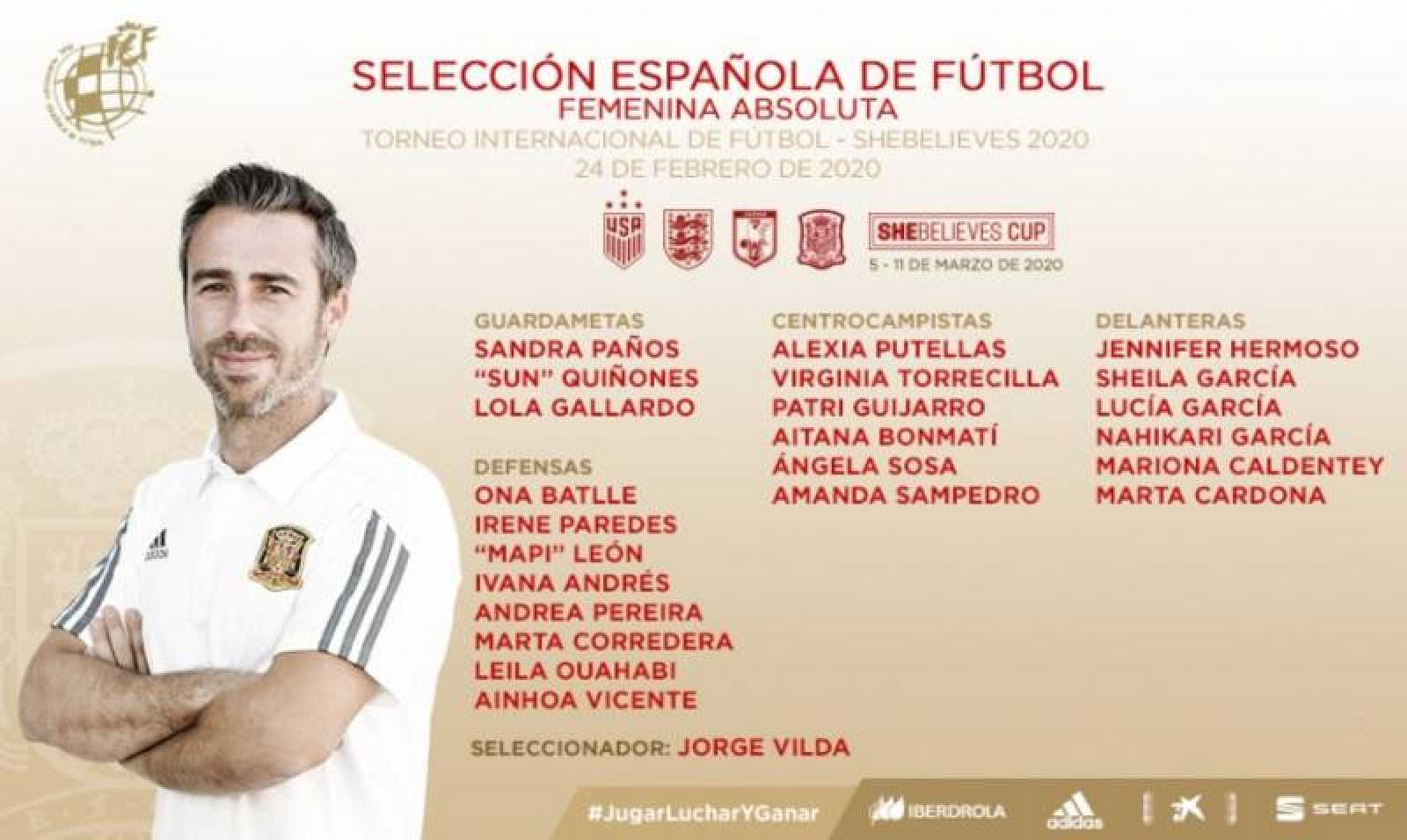 Imagen de la convocatoria de la selección española femenina de fútbol.