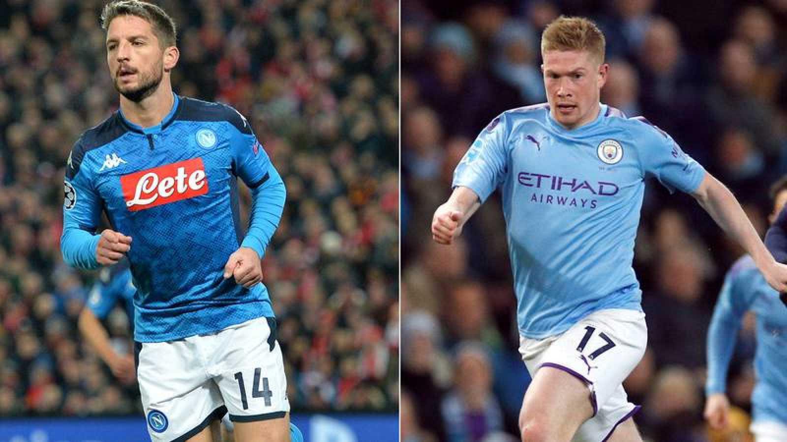 Imagen de los jugadores del Nápoles y Manchester City, Dries Mertens y Kevin De Bruyne.