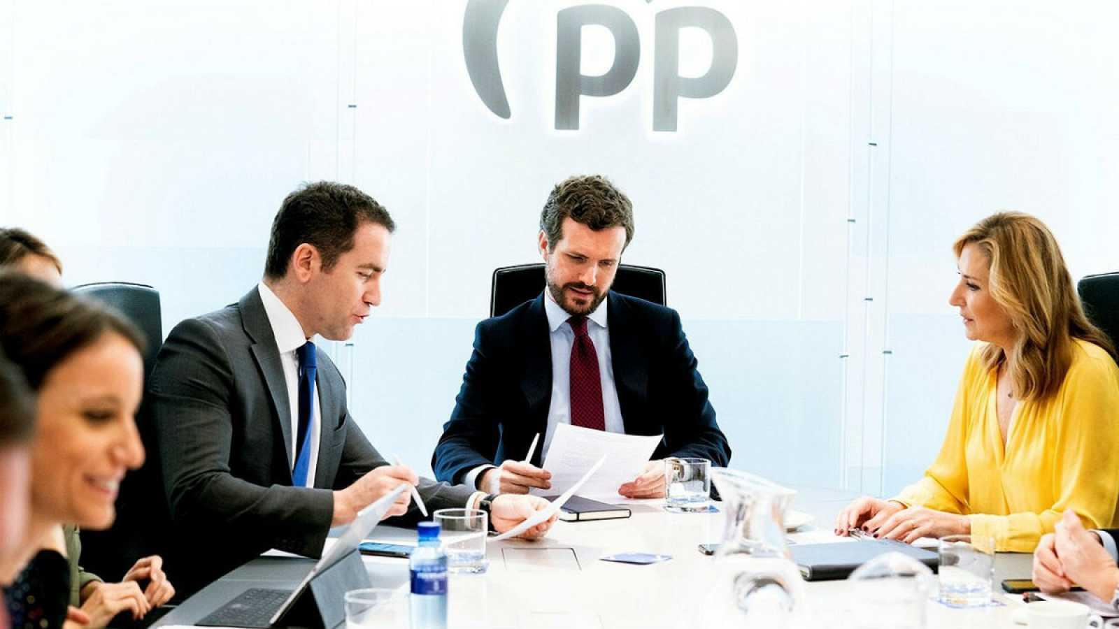 Foto cedida por el Partido Popular en la que su presidente nacional, Pablo Casado, preside la reunión del Comité de Dirección en la sede del partido en Madrid.