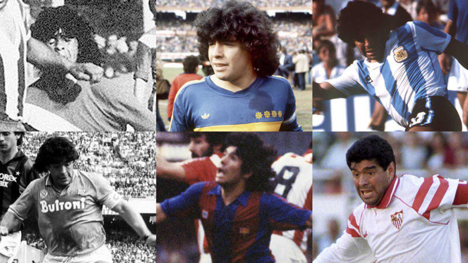 Fotomontaje de seis imágenes de Maradona con diferentes equipos