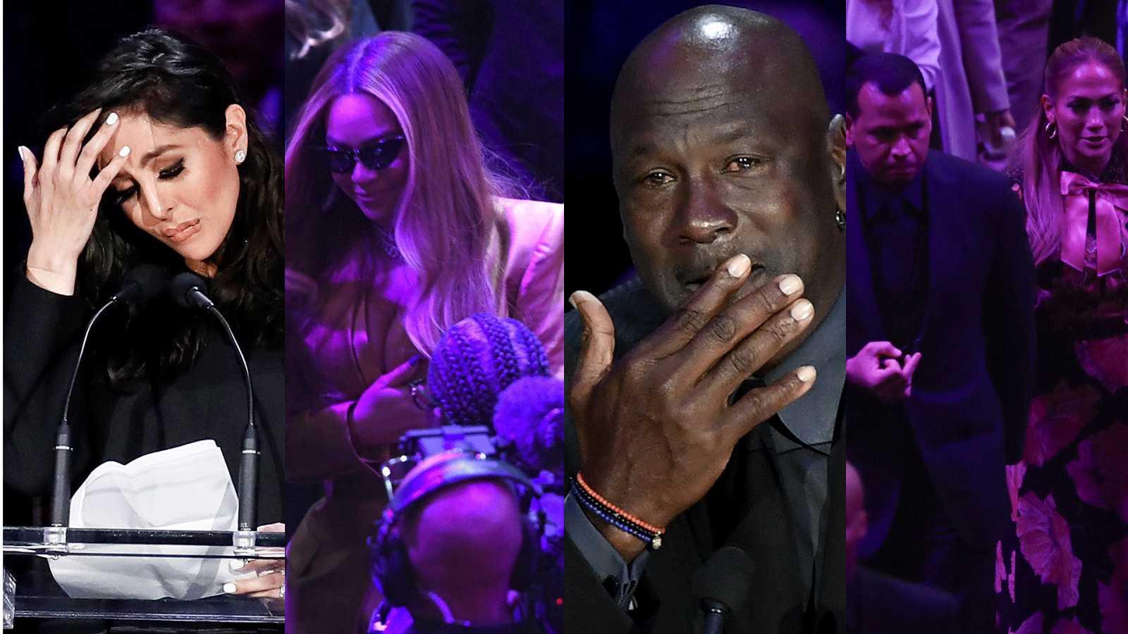 Vanessa Bryant, Beyonce, Michael Jordan y Jennifer López en el funeral de Kobe y Gianna Bryant
