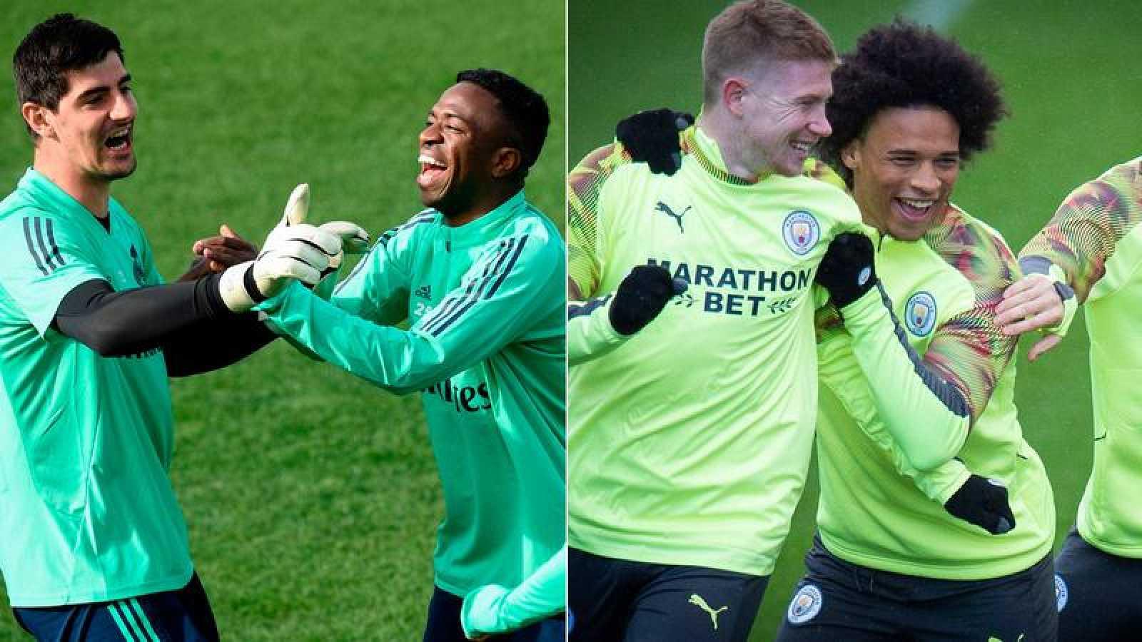 Thibaut Courtois, Vinizius Jr., Kevin De Bruyne y Leroy Sané sonríen en los entrenamientos previos al duelo entre Real Madrid y Manchester City.