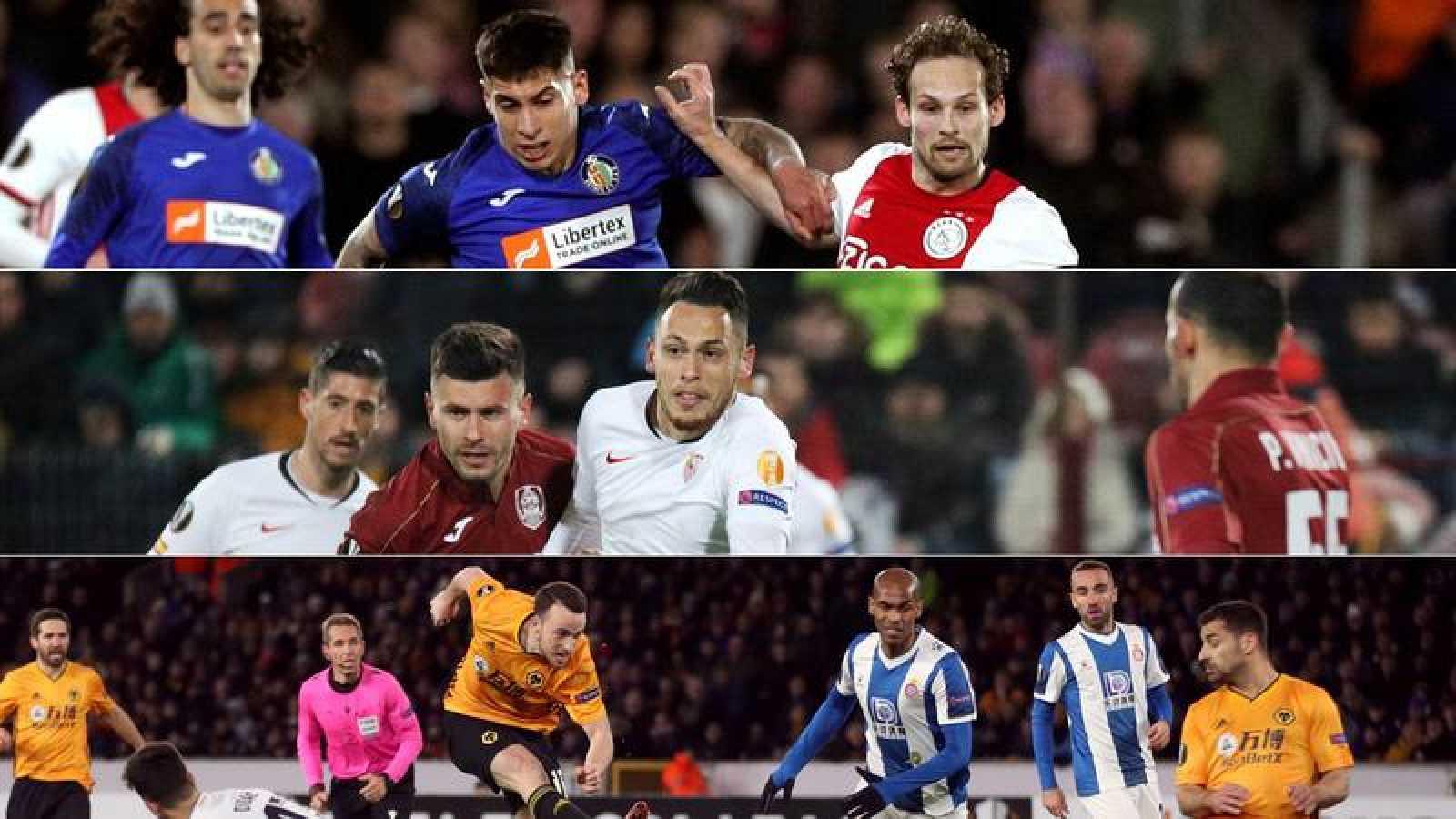 Tres imágenes de los partidos de ida de los dieciseisavos de final de la Liga Europa de Getafe, Sevilla y Espanyol.