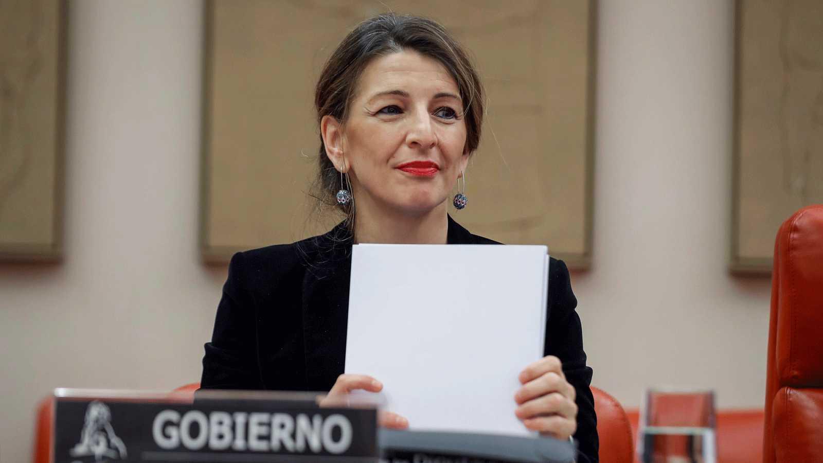 La ministra de Trabajo y Economía Social, Yolanda Díaz, durante su comparecencia en el Congreso de los Diputados