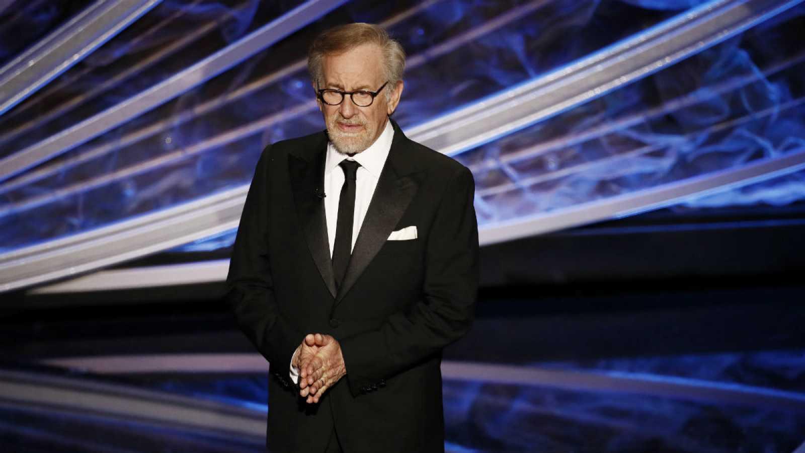 El director estadounidense Steven Spielberg en un discurso durante la ceremonia de los Oscar 2020.