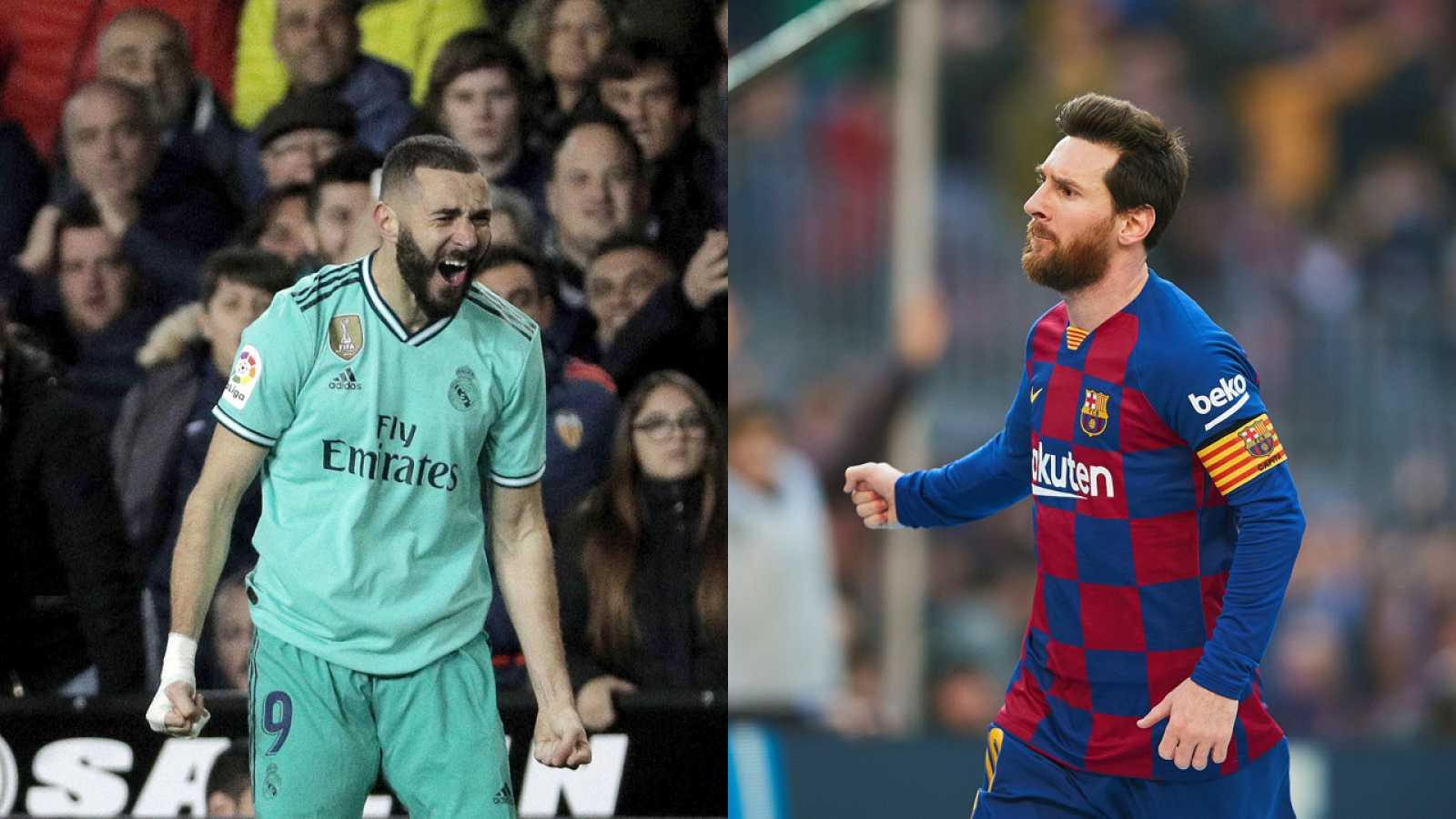 Los delanteros de Real Madrid y FC Barcelona, Benzema (i) y Messi (d)