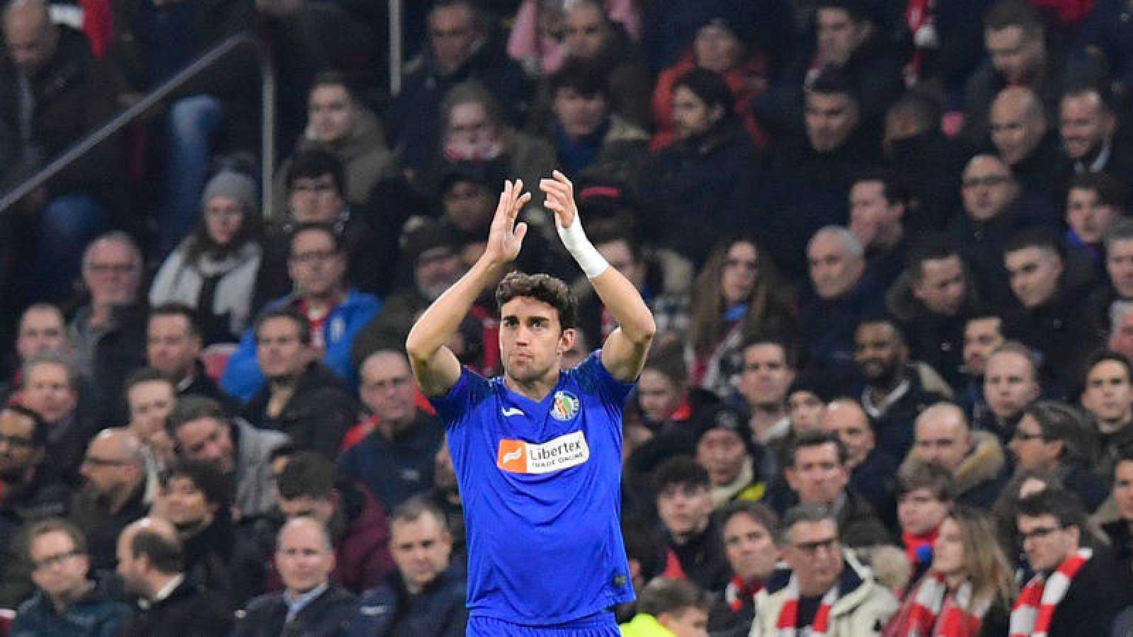 Jaime Mata celebra el gol del Getafe en Amsterdam.