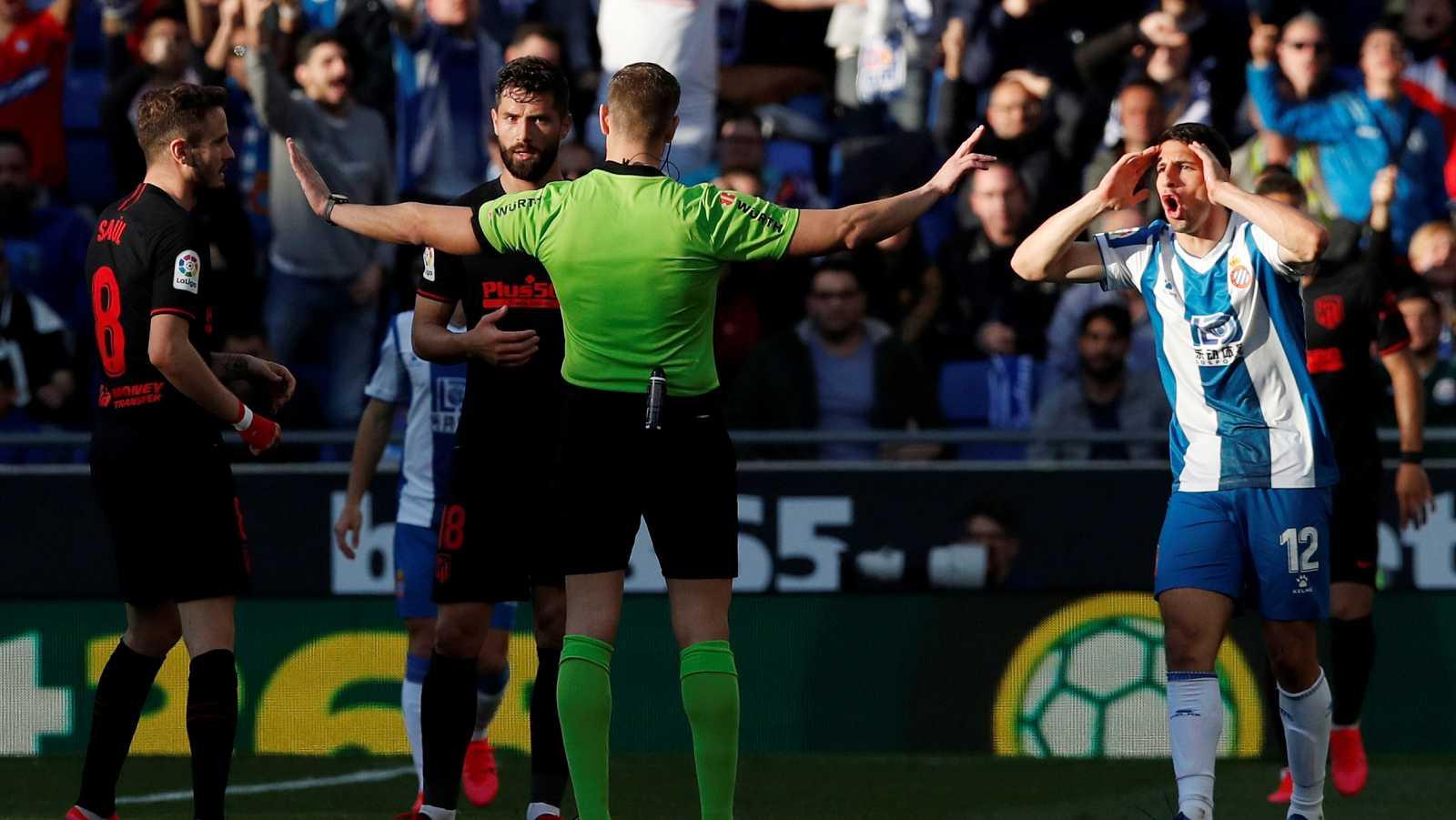 Imagen del encuentro entre el Espanyol y el Atlético de Madrid en la jornada 26 de La Liga