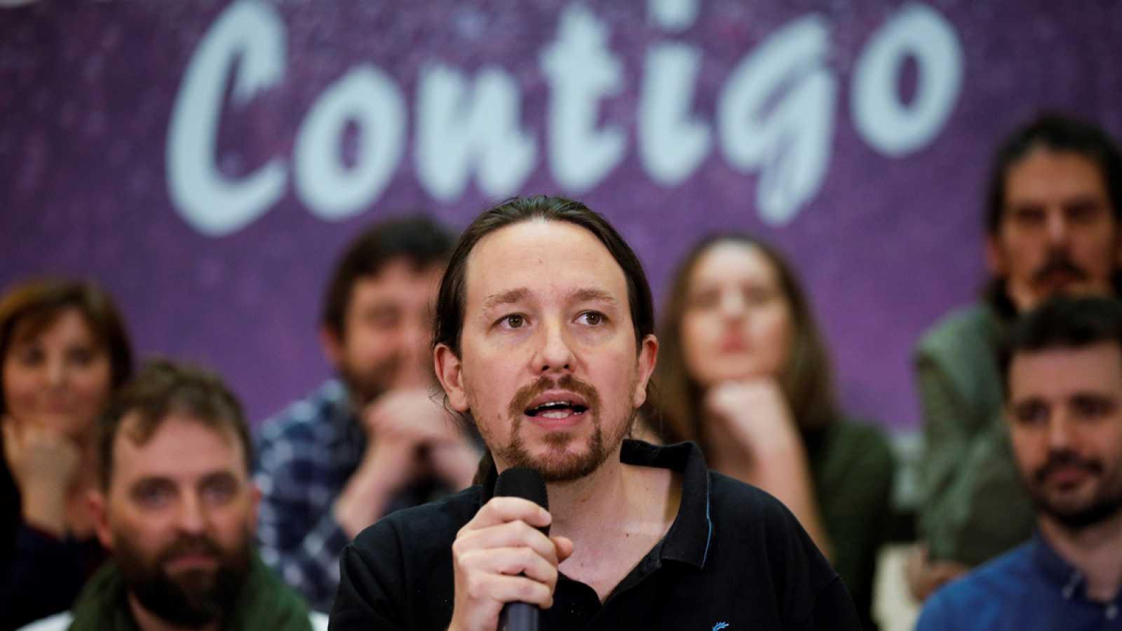 El secretario general de Podemos, Pablo Iglesias, en un acto este domingo