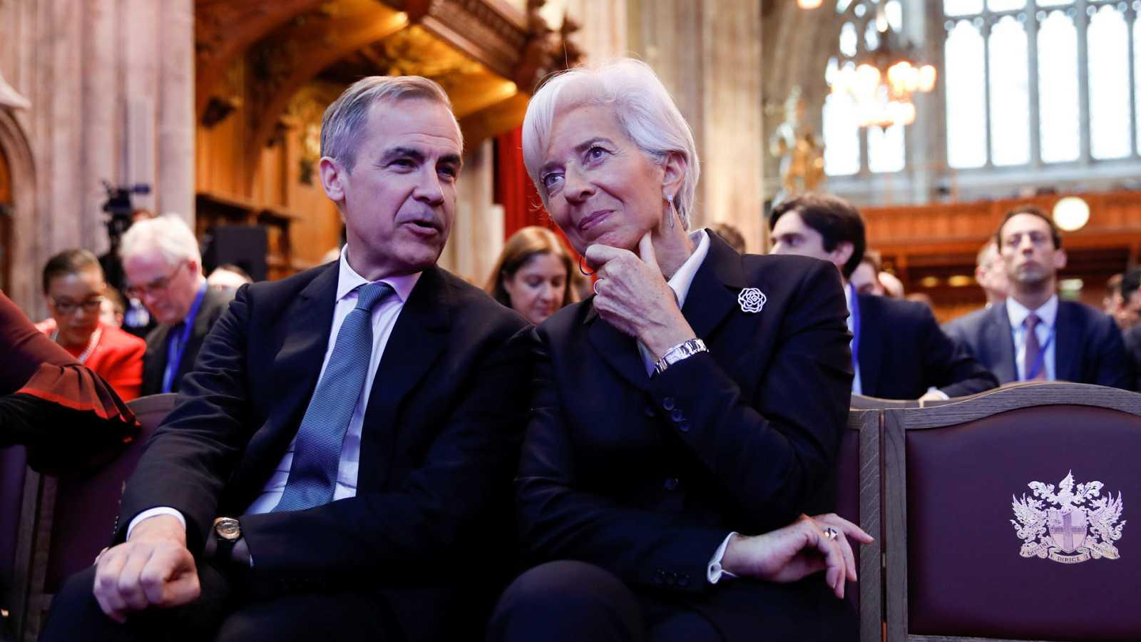 El gobernador del Banco de Inglaterra, Mark Carney, y la presidenta del Banco Central Europeo, Christine Lagarde, durante un encuentro la pasada semana
