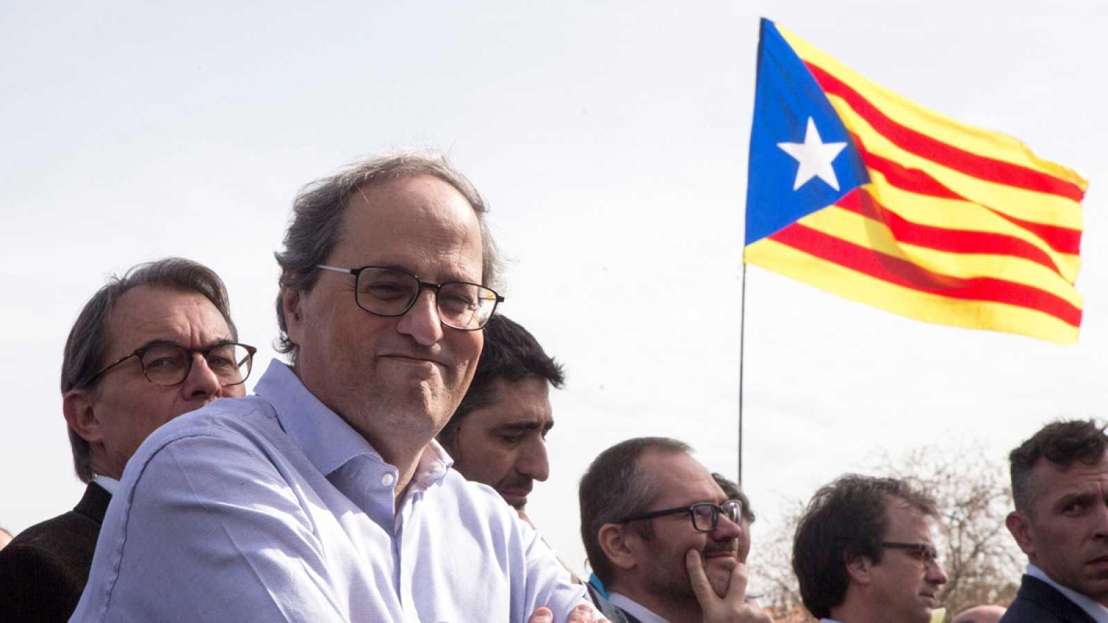 El presidente de la Generalitat, Quim Torra, durante un acto político
