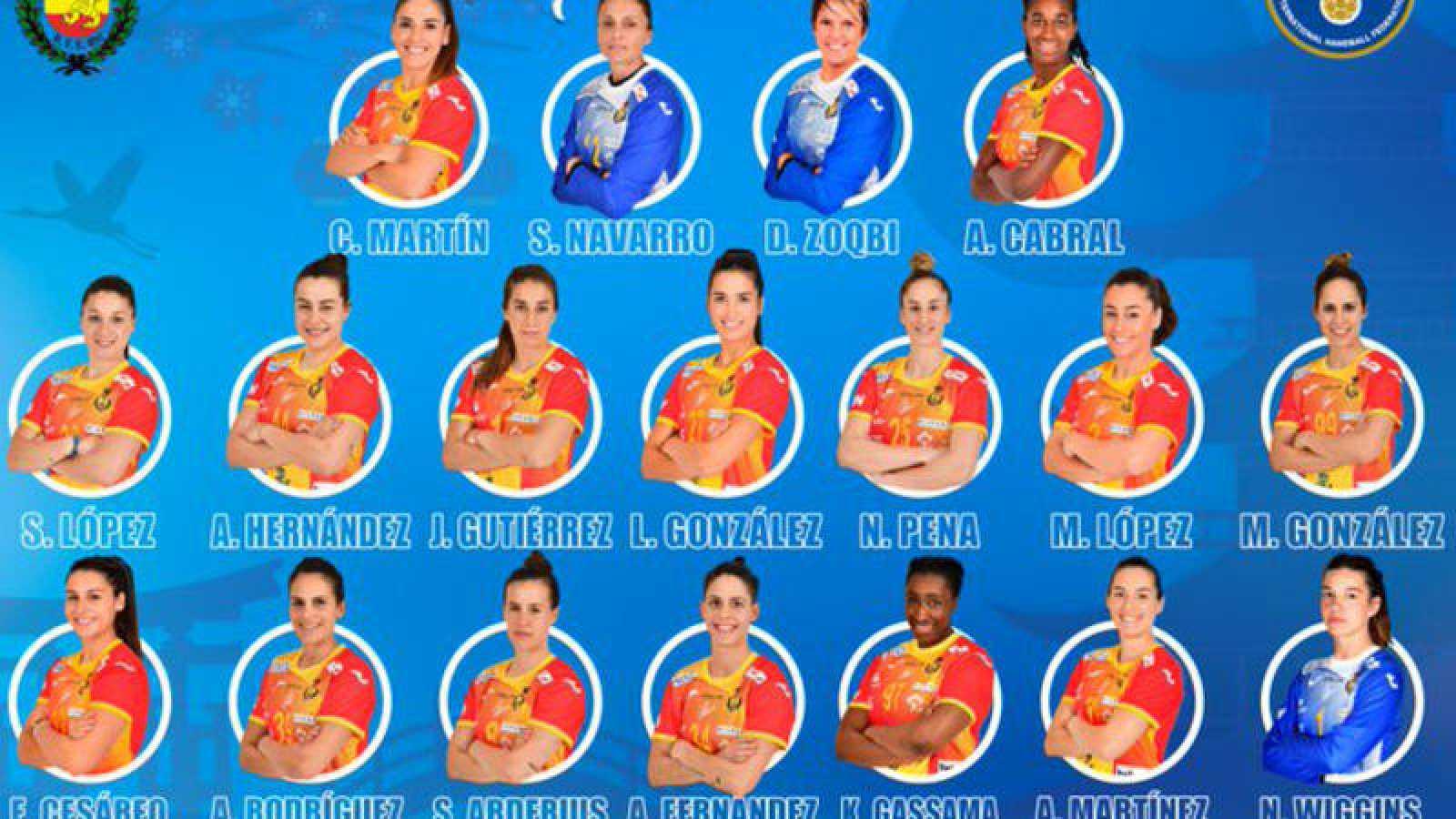 Imagen de la convocatoria de la selección española de balonmano femenino para el Preolómpìco de Llíria.
