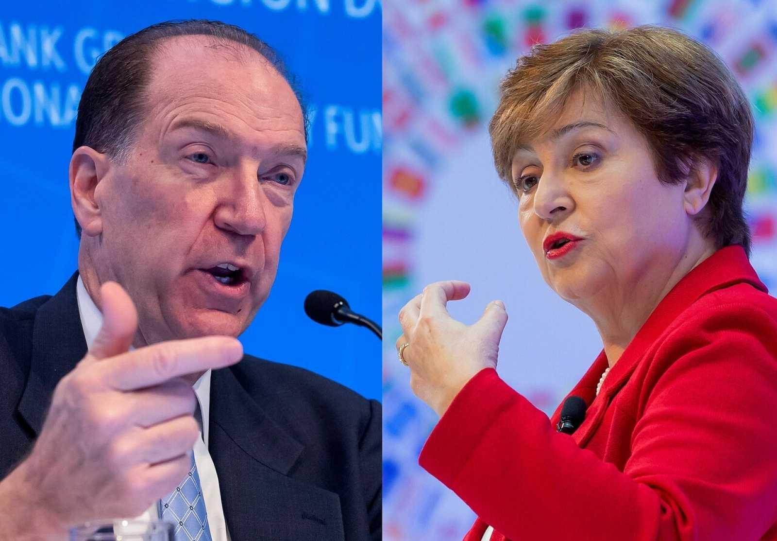 El presidente del Grupo del Banco Mundial, David Malpass y la directora gerente del Fondo Monetario Internacional, Kristalina Georgieva, en conferencias de prensa durante las Reuniones Anueales.
