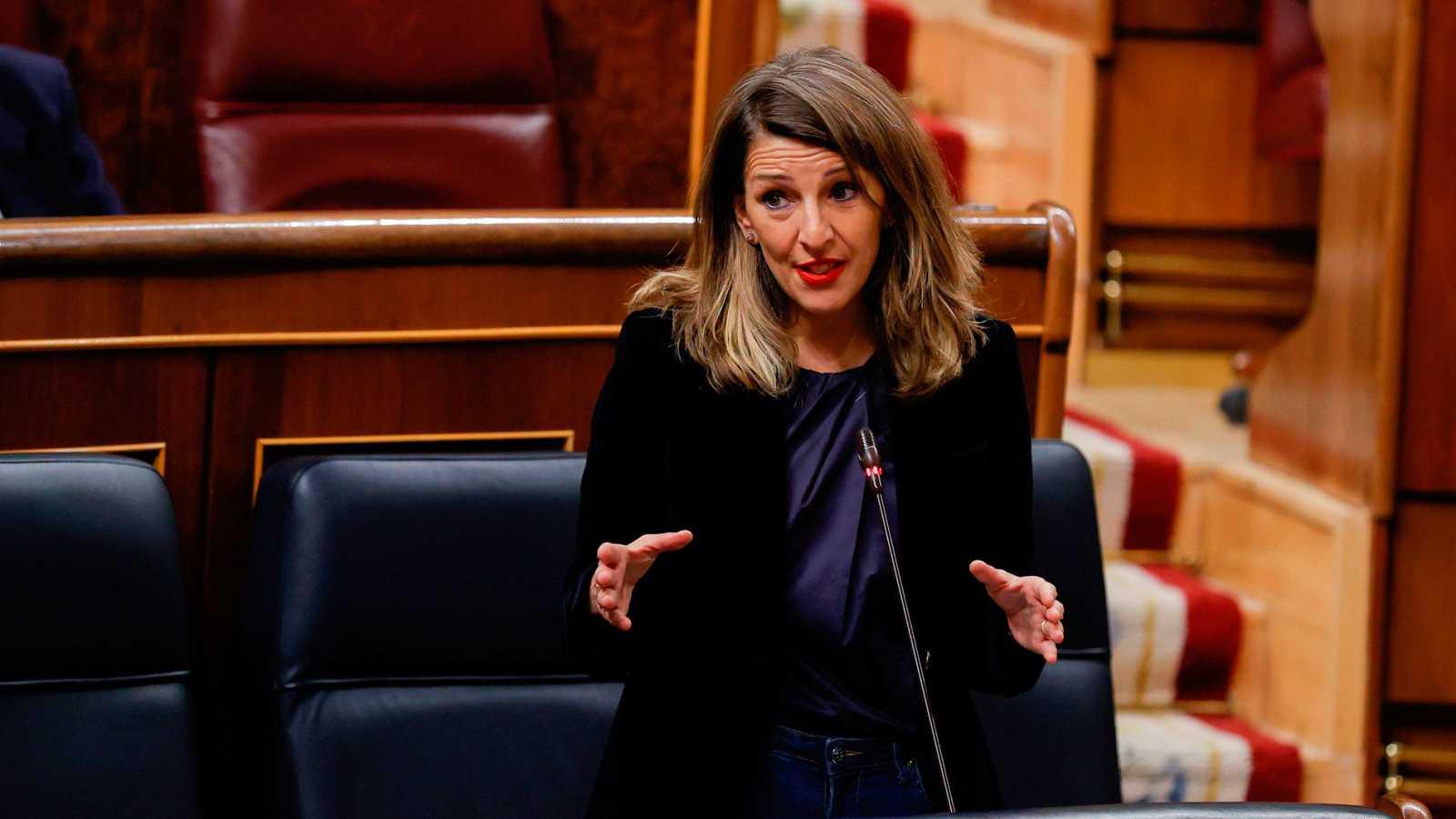 La ministra de Trabajo, Yolanda Díaz durante la sesión de control al Gobierno, este miércoles, en el Congreso de los Diputados, en Madrid.