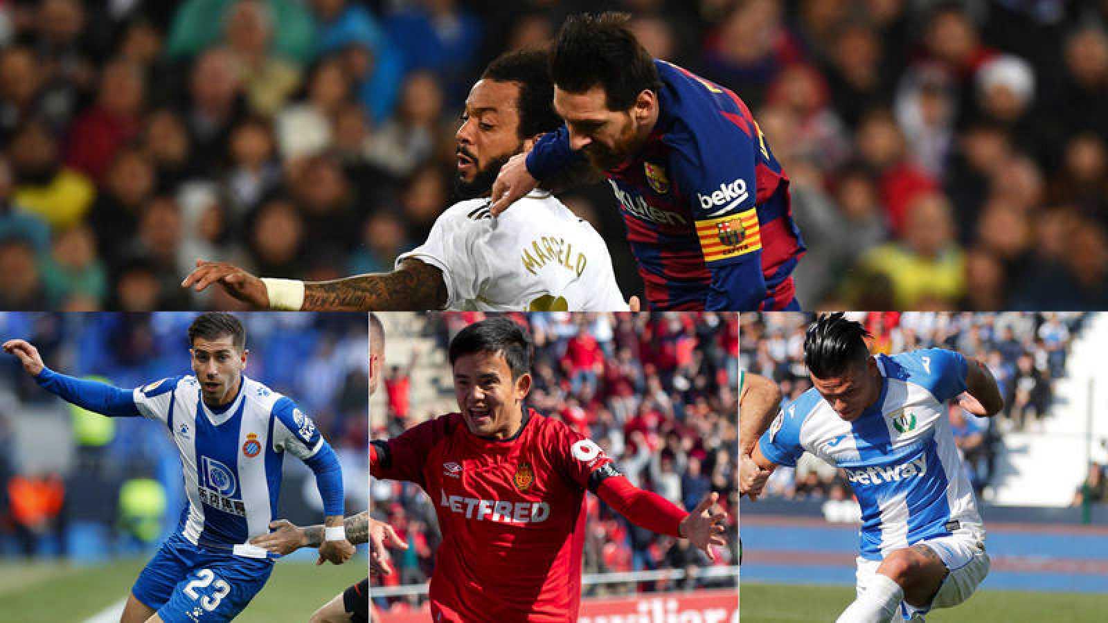 Montaje con imángenes de Messi, Marcelo, Embarba, Kubo y Silva.