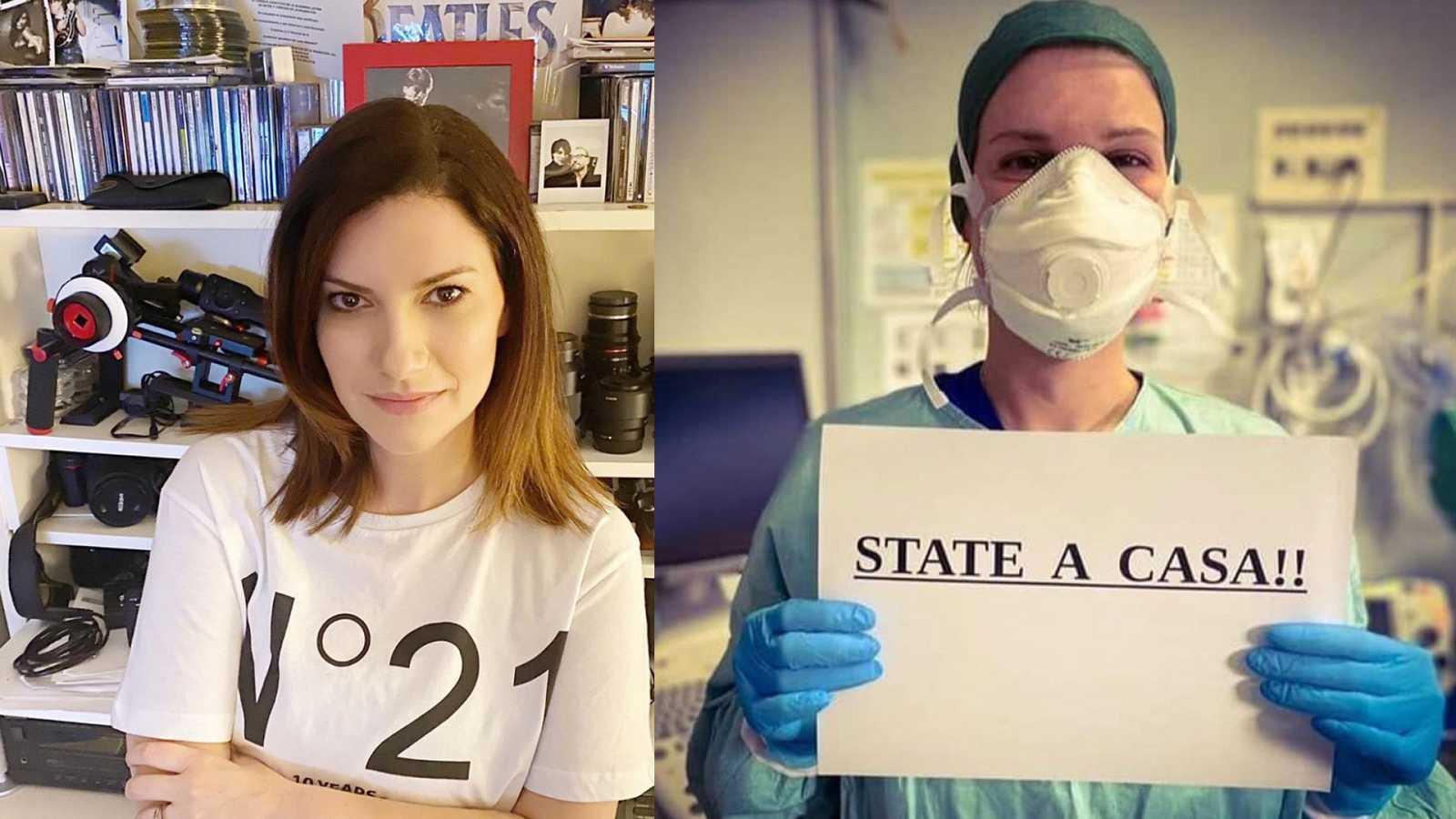 Laura Pausini y una sanitaria italiana (que se  ha hecho viral en esta imagen) piden que los italianos se queden en casa para evitar la expansión del coronavirus