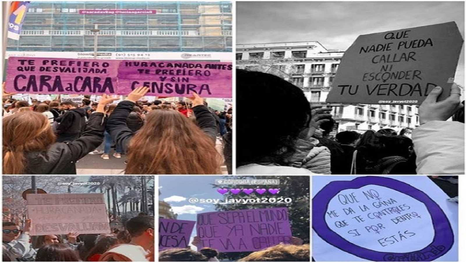 """Pancartas en las marchas del 8M con la letra de """"Qué sabrá Neruda"""" compuesta por Javy de OT 2020"""