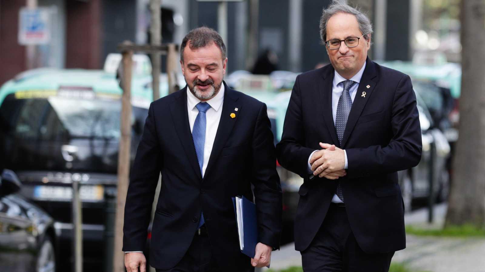El presidente de la Generalitat, Quim Torra, y el conseller de Exteriores, Alfred Bosch