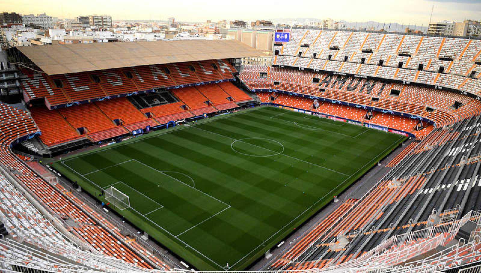 Imagen panorámica de Mestalla, el estadio del Valencia.