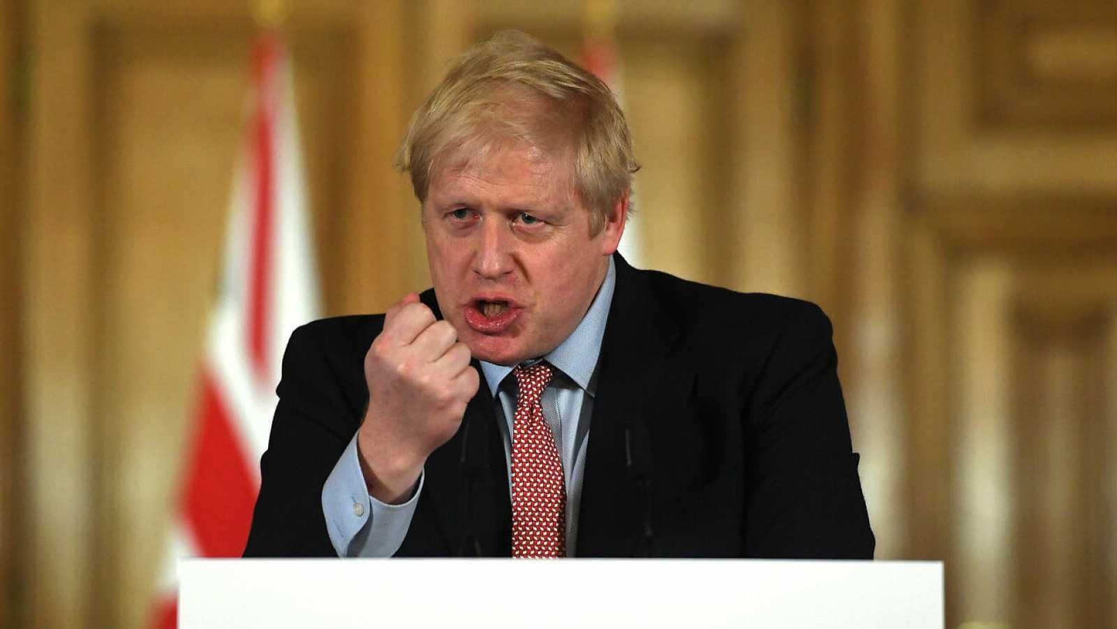 Boris Johnson durante su comparececia para hablar de la situación del coronavirus