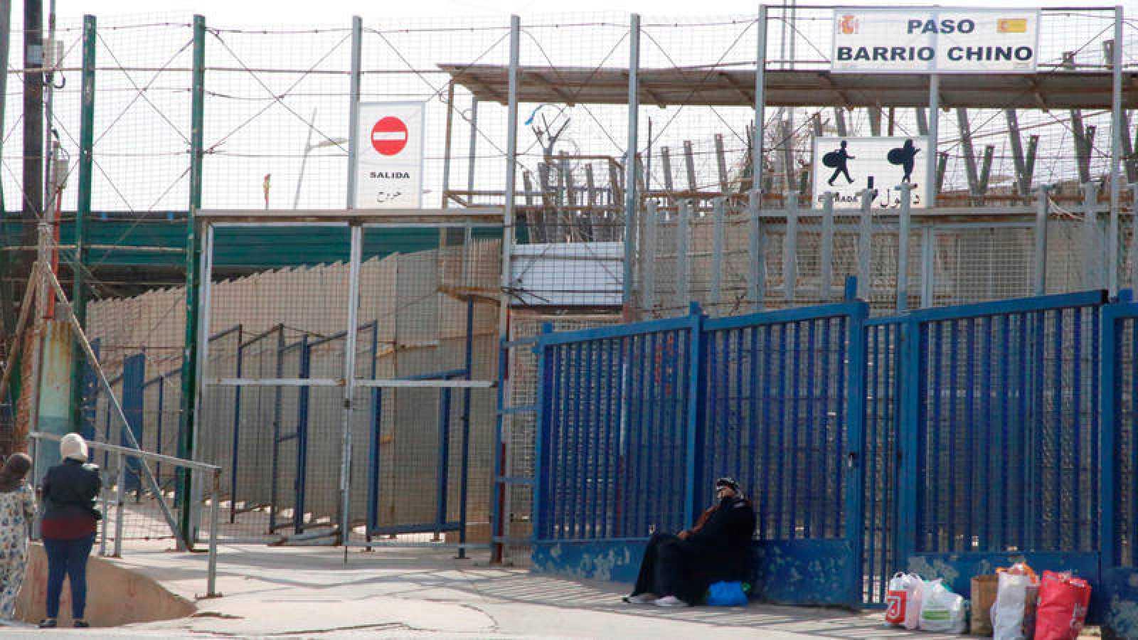 Vista este jueves de un paso fronterizo entre España y Marruecos en Melilla