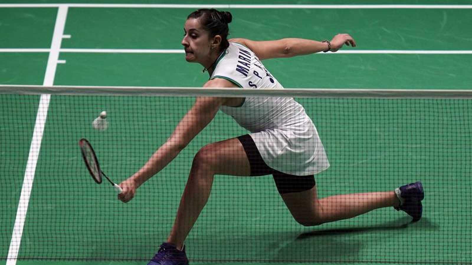 Carolina Marin en acción durante el All England