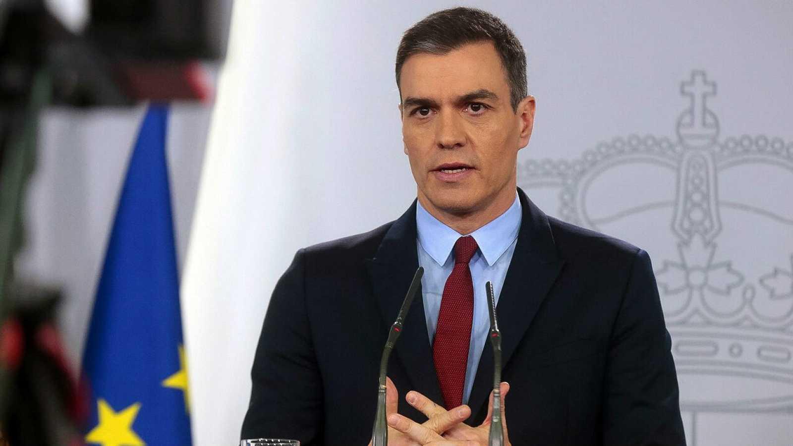 El presidente del Gobierno, Pedro Sánchez, en una comparecencia durante el estado de alarma.