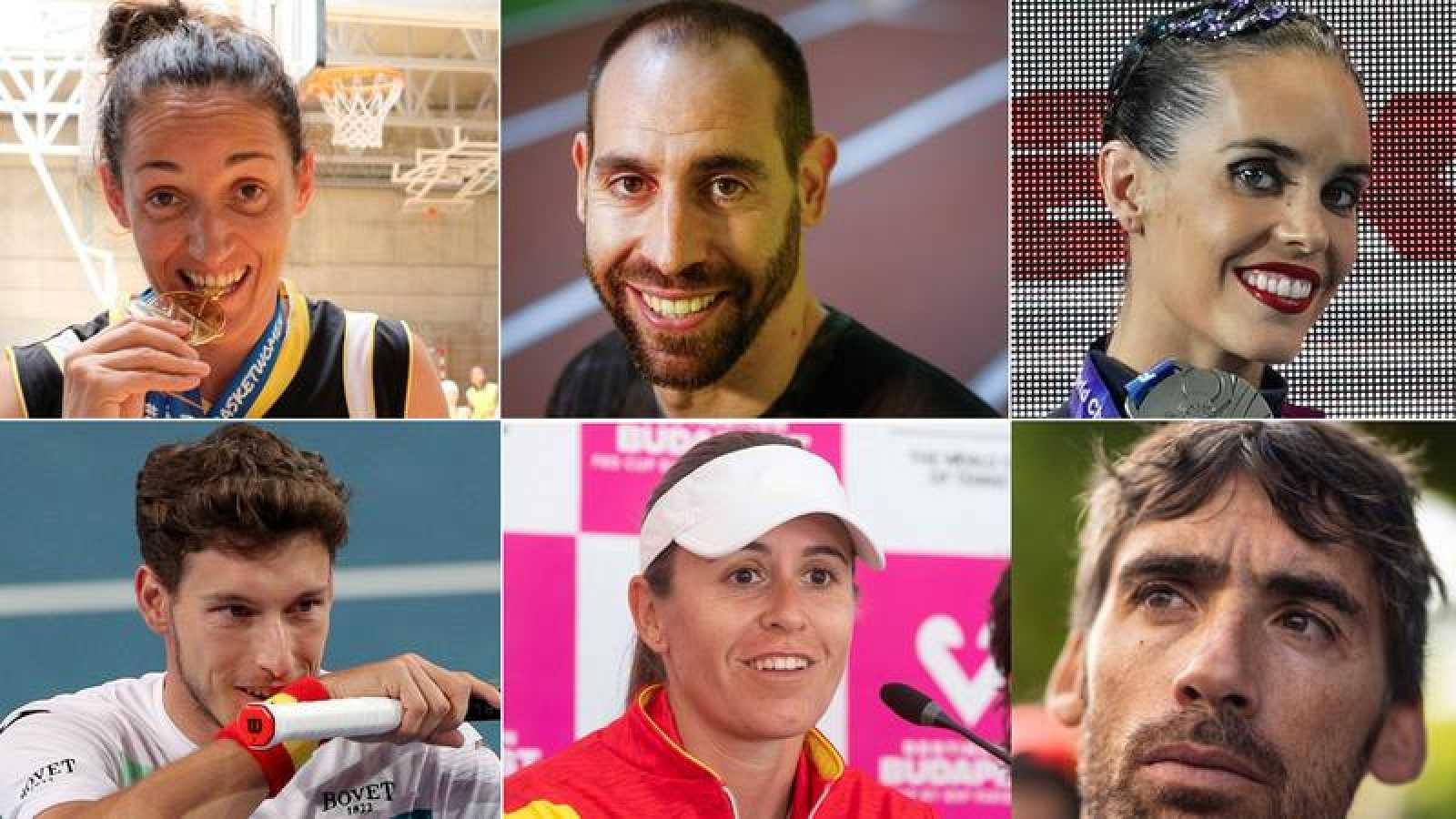 Montaje de imágenes de varios deportistas españoles