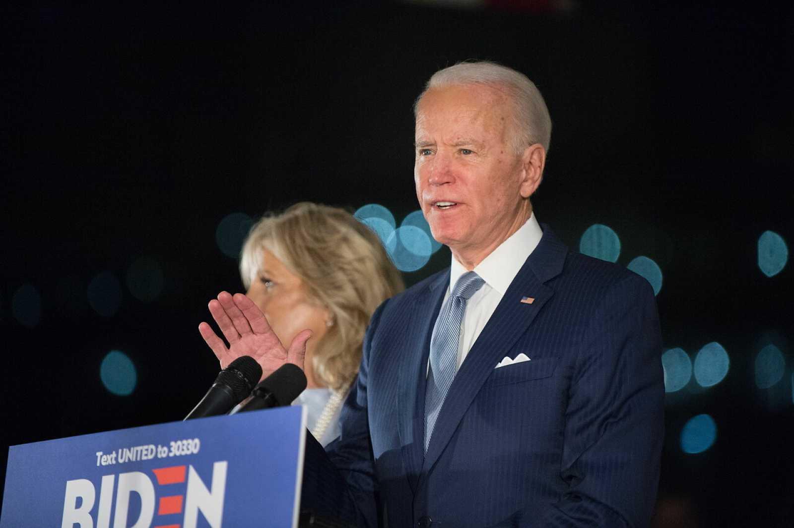 El candidato demócrata Joe Biden durante un evento en Pensilvania