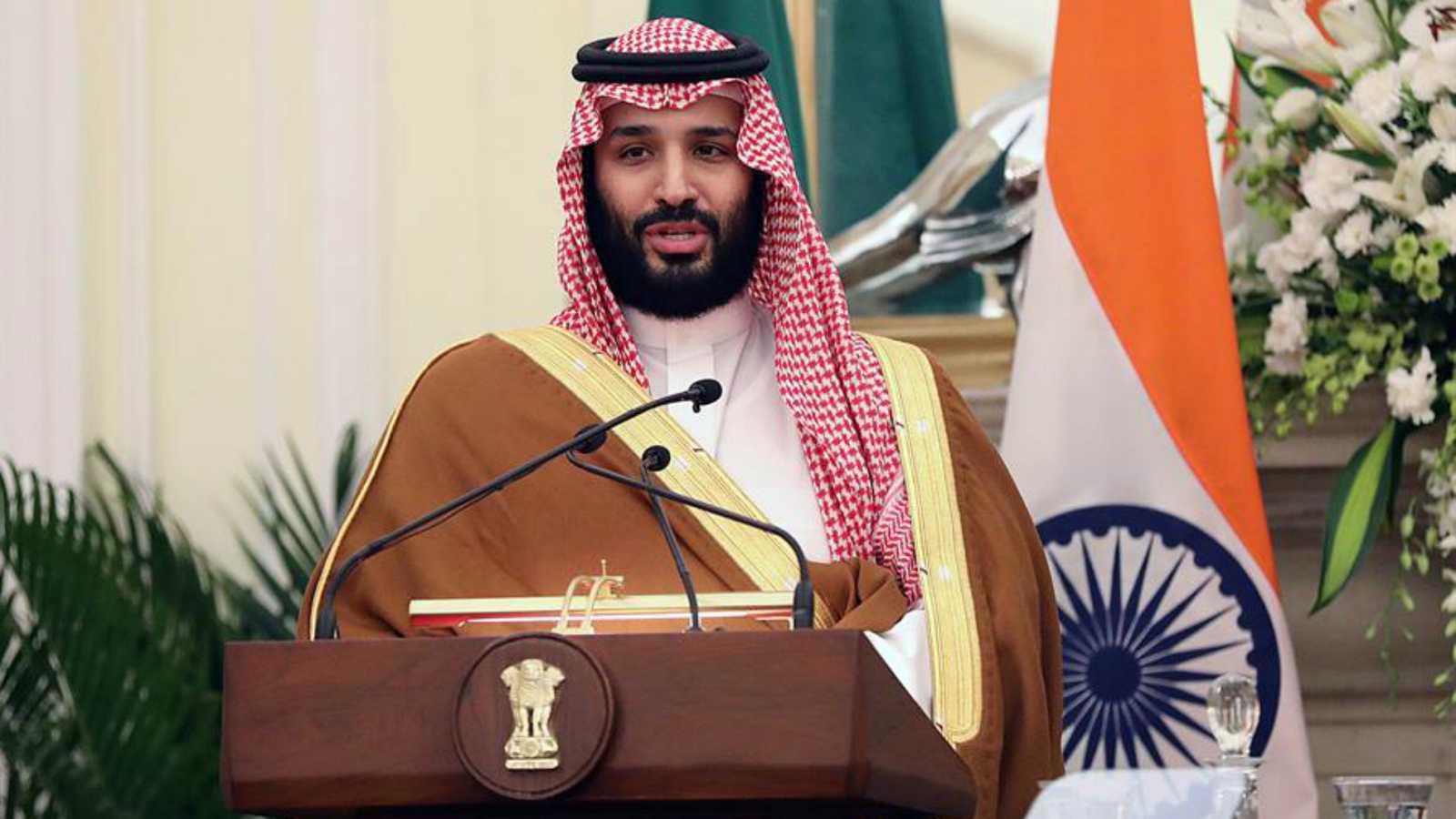 El príncipe heredero saudí, Mohamed bin Salman, en una rueda de prensa en la India