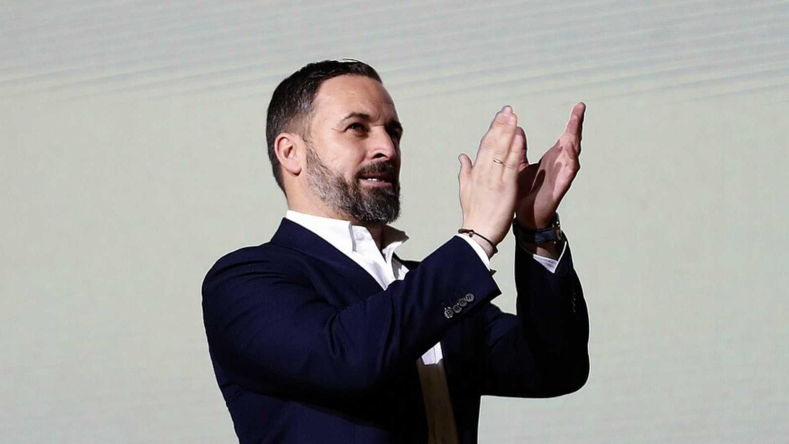 El líder de Vox, Santiago Abascal, durante el mitin del 8 de marzo