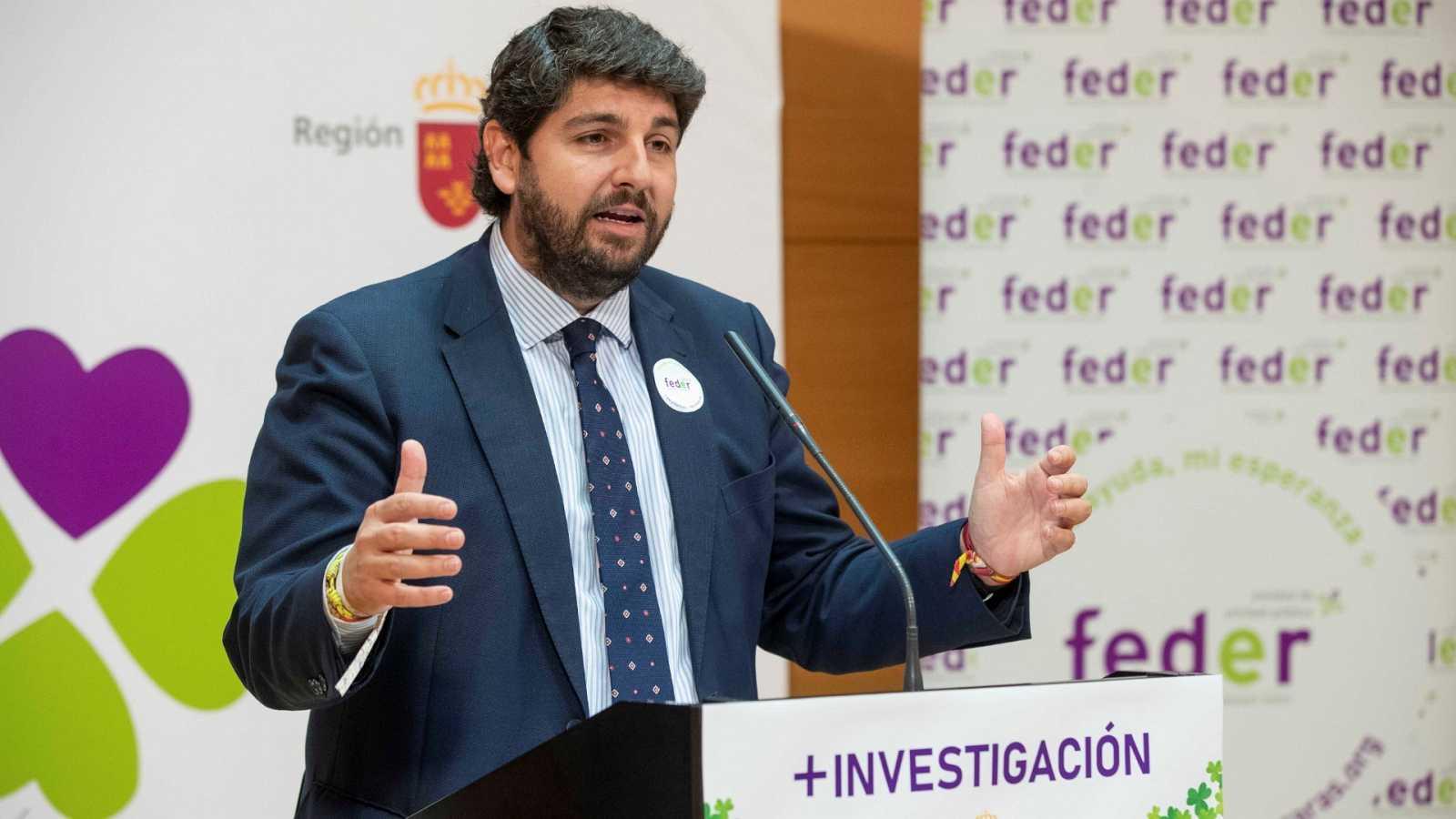Imagen de archivo del presidente de la Región de Murcia, Fernando López Miras, durante una rueda de prensa.