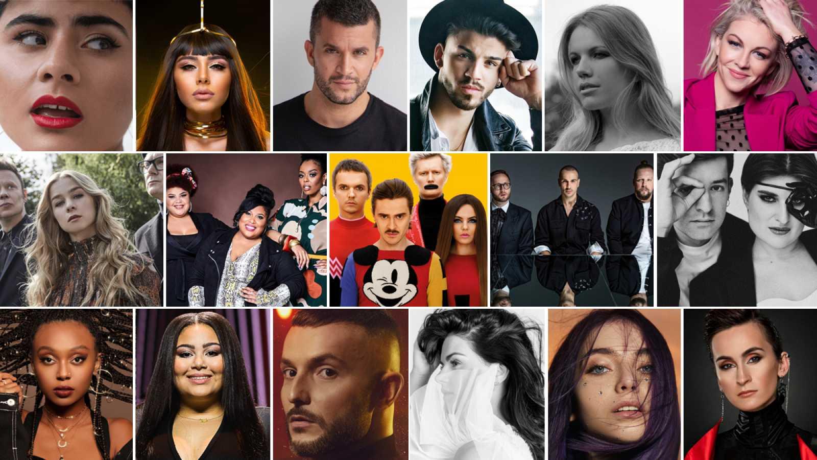 Los 17 candidatos de la primera semifinal de Eurvosión 2020.
