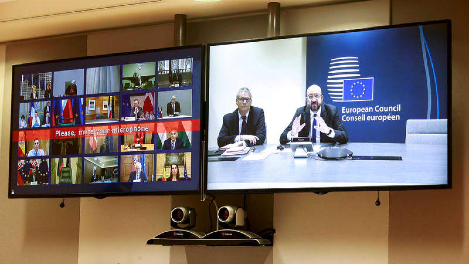 Videoconferencia del Consejo Europeo el pasado 10 de marzo