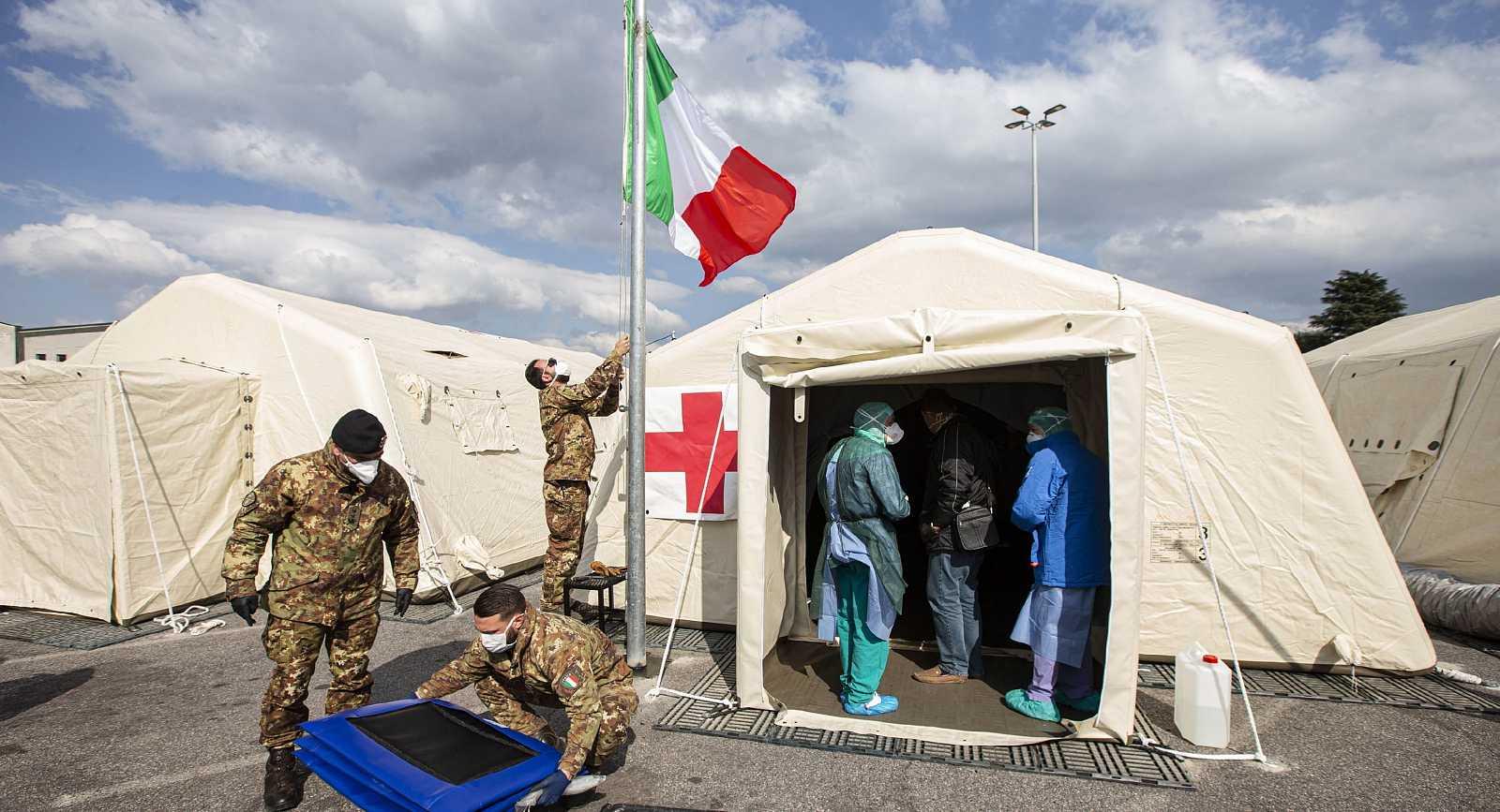Hospital de campaña ubicado en la localidad italiana de Crema.