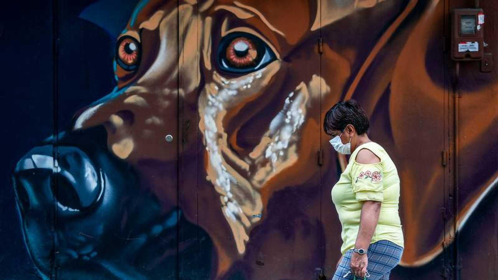Una mujer con una mascarilla pasea en una calle de Bogotá