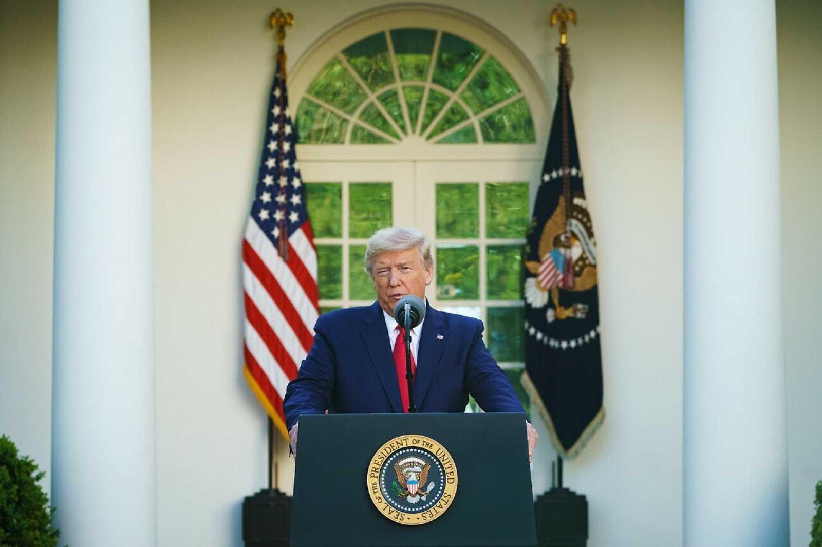 El presidente Donald Trump durante la conferencia diaria sobre el coronavirus