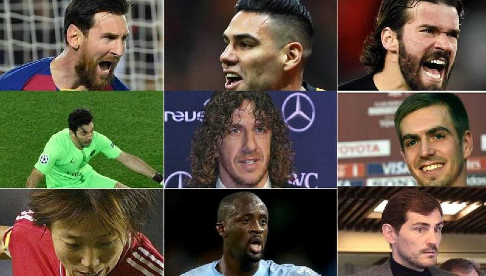 Montaje de imágenes de los futbolistas que participan en una campaña de concienciación contra el coronavirus.
